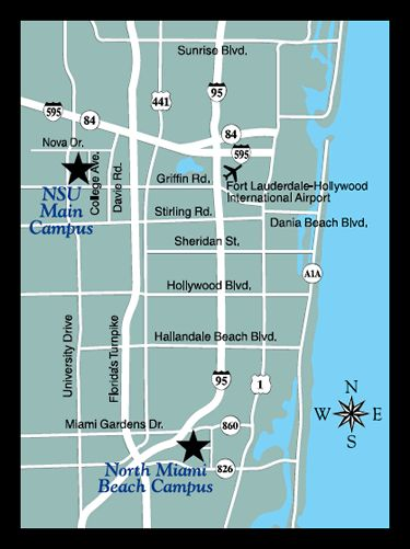 Information on Nova Southeastern University Dental Clinic in North Miami Beach.   (305) 949-4000. Address, phone number, map, driving directions, hours of